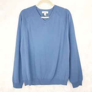 Calvin Klein V Neck Sweater Blue Cotton Viscose M